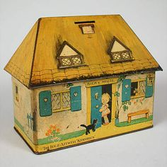 """CRAWFORD'S """"BICKY HOUSE"""" BISCUIT TIN / BANK. Love!!!"""