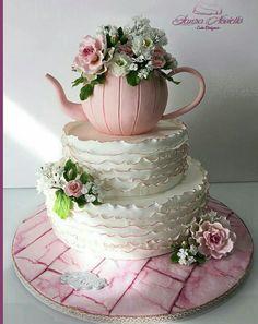 Birthday Cake - cake by NovielloCake - CakesDecor Themed Birthday Cakes, Tea Party Birthday, Themed Cakes, Happy Birthday, Pretty Cakes, Beautiful Cakes, Amazing Cakes, Teapot Cake, Pink Teapot