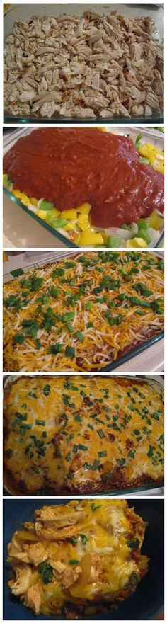 No Tortilla Cheesy Chicken Enchilada Bake. thm S. No directions, just ingredients. I would assume to bake at 350* for 30 or so minutes. If you want softer veggies, saute them first.