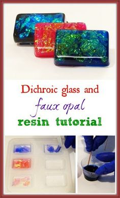 Resin Obsession blog:  How to use resin to create your own lookalike dichroic glass charms and opal cabochons Glass Jewelry, Resin Jewelry, Jewelry Crafts, Jewellery, Diy Resin Crafts, Crafts To Make, Plastic Fou, Resin Tutorial, Resin Molds