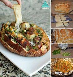 Cheesy Cheddar Pull-Apart Bread NOM! reciepe: http://www.browneyedbaker.com/2013/01/31/cheesy-pull-apart-bread/