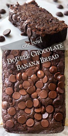 One Bowl Double Chocolate Banana Bread – Just a Little Bit of Bacon My awesome, moist double chocolate banana bread full of dark chocolate, cocoa powder, bananas, and sour cream can be mixed up in one bowl. Easy and great for dessert or a snack anytime. Best Banana Bread, Chocolate Chip Banana Bread, Banana Bread Recipes, Leftover Banana Recipes, Overripe Banana Recipes, Recipes With Bananas, One Bowl Banana Bread, Cake Mix Banana Bread, Sour Cream Banana Bread