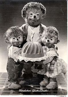 RPPC German Mecki Hedgehog Steiff Toy Co Bundt Cake Hearty Congratulations