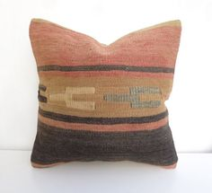 ***Free Shipping Worldwide*** Decorative pillow cover made with a vintage Turkish Hand woven Kilim rug. This Bohemian kilim pillow will look so amazing on your Sofa! The main colors are Brown, faded T