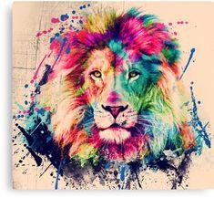 'Lion Watercolor Splash Portrait ' Canvas Print by Nora Gad Watercolor Lion Tattoo, Watercolor Animals, Watercolor Print, Watercolor Paintings, Watercolors, Animal Paintings, Animal Drawings, Murciano Art, Tableau Pop Art