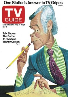 TV Guide July 30, 1977 - Johnny Carson of The Tonight Show. Illustration by Al Hirschfeld.