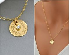 Name Necklace, Personalized Disc Necklace, Gold Name Disc with CZ, Gold CZ Necklace, Personalized CZ Necklace, Bridal Necklace, Wedding by malizbijoux. Explore more products on http://malizbijoux.etsy.com