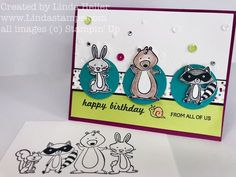 I do love my critters….when I saw this cute set from Stampin' Up I had to get it! It's called We Must Celebrate and it's a clear mount, rubber stamp set and has no dies so t…