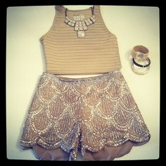 Crop top + sparkly shorts