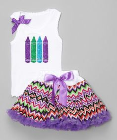 This White & Purple Crayon Tank & Pettiskirt - Infant, Toddler & Girls is perfect! #zulilyfinds