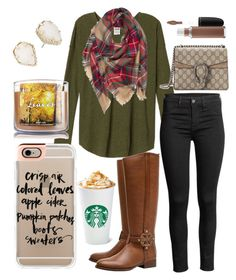 Classic fall outfit by jadenriley21 on Polyvore featuring polyvore fashion style Tory Burch Gucci Kendra Scott Casetify MAC Cosmetics clothing
