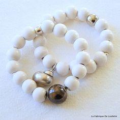 Bracelets Blancs et Céramique Argent,Bracelets Bois Blanc,Bijou Bois et Céramique,Bracelets Eté Plage,Bracelets Breloques,