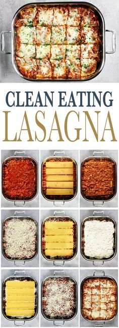 lavorful, Clean Eating Lasagna with a zesty meat sauce, creamy ricotta and melty mozzarella. Freezer Friendly and so delicious! via Sissom eating dinner Clean Eating Lasagna Clean Eating Pizza, Clean Eating Grocery List, Clean Eating Recipes For Dinner, Clean Eating Breakfast, Clean Eating Meal Plan, Clean Recipes, Clean Eating Snacks, Healthy Eating, Cooking Recipes