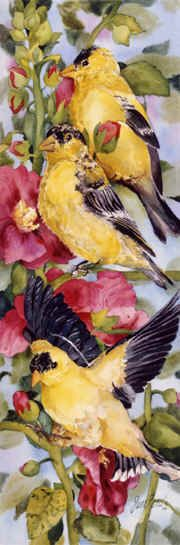 """""""Goldfinches and Hollyhocks"""" Jan Ford"""