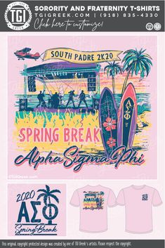 Alpha Sigma Phi shirts by TGI Greek! sorority apparel, sorority shirts, custom shirts, custom sorority shirts, custom fraternity apparel, custom tees, fraternity shirts, fraternity tshirts, spring break, south padre, #tgigreek #beach #palmtree #surfboard Fraternity Shirts, Sorority And Fraternity, Sorority Outfits, Sorority Shirts, Sorority Banner, Spring Break Trips, Custom Tees, College Life, Surfboard