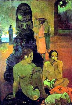 by Paul Gauguin in oil on canvas, done in . Now in a private collection. Find a fine art print of this Paul Gauguin painting. Paul Gauguin, Henri Matisse, Henri Rousseau, Pablo Picasso, Gauguin Tahiti, Buddha Painting, Impressionist Artists, Art Moderne, French Art