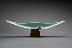 Sky Space <Soar> (Tenku <sho>), 2007, by Fukami Sueharu (Japanese, b. 1947). Pale blue glazed porcelain; mounted on a walnut base. Courtesy of the Paul and Kathy Bissinger Collection, R2014.8.2. Image © Asian Art Museum of San Francisco.