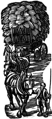 Gwen Raverat wood engraving Harvest Wagon, Farmer's Glory 64 x 27mm, block cut 1934.