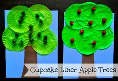 Cupcake Liner Apple Tree Craft  - Pinned by @PediaStaff – Please Visit  ht.ly/63sNt for all our pediatric therapy pins