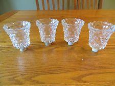 Lot of 4 Crystal Lotus Peg Votive Candle Holders Glass Diamond pattern