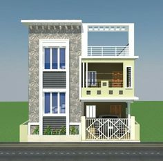 Two Floor House Front Elevation.Front Elevation Designs For Ground Floor House 350 . Cute Small Double Floor House 1300 SFT For 13 Lakh . Home and Family House Outside Design, House Front Design, House Front Door, Small House Design, Modern House Design, Single Floor House Design, Modern Exterior House Designs, Front Elevation Designs, House Elevation