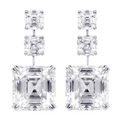 24.81 Carat Asscher-cut Diamonds | From a unique collection of vintage drop earrings at http://www.1stdibs.com/jewelry/earrings/drop-earrings/