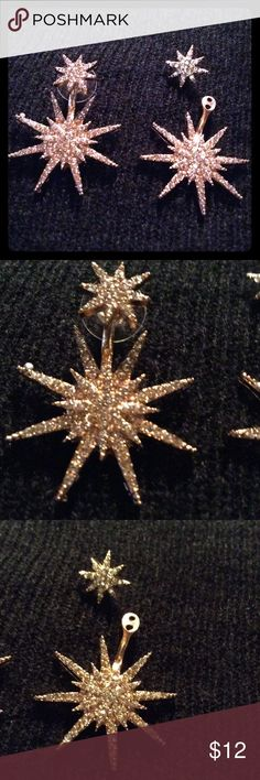 EARRINGS BEAUTIFUL GOLD EARRINGS WITH RHINESTONES THAT YOU CAN WEAR TWO WAYS. JUST THE SMALL SUNBURST OR WITH BOTH A SMALL SUNBURST AND A LARGE ONE ON BOTTOM. PIERCED BOUTIQUE Jewelry Earrings