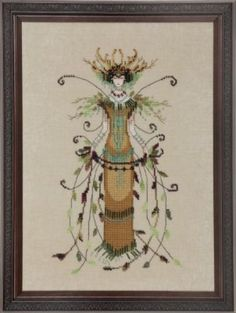 The Willow Queen is the title of this cross stitch pattern from Nora Corbett's Black Forest Pixie Series that is stitched with DMC threads and Caron Waterlilies CWL 204, CWL 206 and CWL 287. Click on highlighted link to add the embellishment pack and fibers to your shopping cart.