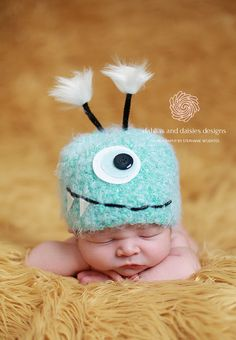Baby Hat, Blue Monster Newborn Baby Hat, Knit Baby Hat Photography Prop