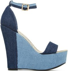 Chunky Denim Wedges