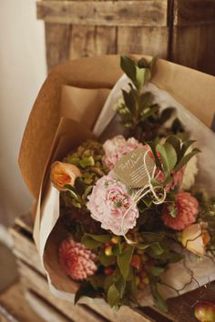 wild flowers wrapped in butcher paper