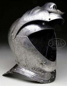 16TH CENTURY GERMAN CLOSED HELMET. Grotesque Visor