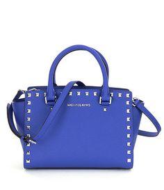 NWT MICHAEL Michael Kors Blue Selma Stud Leather Medium Top Zip Satchel Bag $328 #MichaelKors #Satchel