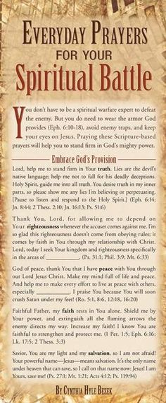 Everyday Prayers for Your Spiritual Battle (Prayer Cards) Prayer Times, Prayer Scriptures, Bible Prayers, Faith Prayer, Prayer Quotes, Deliverance Prayers, Hebrew Prayers, Catholic Prayers, Bible Verses