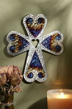 "8"" Jeweled Steel Five Heart Cross – Celebrate Faith"