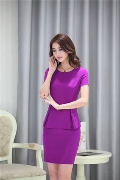 IMG_4044 Business Dresses, Work Clothes, Casual Dresses For Women, Business Women, Peplum Dress, Slim, Asian, Female, Purple