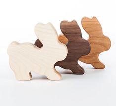 Bunny Rattle, Wood Rattle, organic baby toy