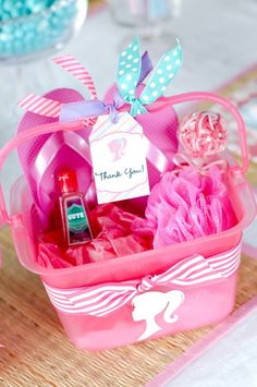 Get little basket and put flip flops and bath sponge, hand sanitizer, and some bubble bath in it for a party favor for little girl birthday. Birthday Favors Girls, Barbie Birthday Party, 13th Birthday Parties, Barbie Party, Girl Birthday, Birthday Gifts, Birthday Cupcakes, Birthday Ideas, Barbie Theme