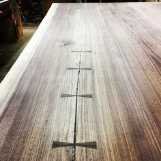 "canadianwoodworks: ""Walnut conference table progress shot - Dovetail keys in and through the first sanding phase, epoxy touch up then a final sanding. Tomorrow we deliver 😬 "" Conference Table, Wood Crafts, Diy Wood, Fine Woodworking, Building Design, Hardwood Floors, Keys, Epoxy, Touch"