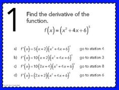 Calculus students need to have lots of practice using the chain rule! This activity for finding derivatives using the chain rule is a great way for students to get out of their desks. Basic Algebra Worksheets, Teacher Worksheets, Printable Worksheets, Math Resources, Math Lesson Plans, Math Lessons, Math Classroom, Future Classroom, Classroom Ideas