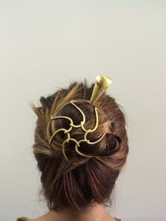 Beatrice Valenzuela jewelry - Alcatraz hair cage and pin in brass and walnut