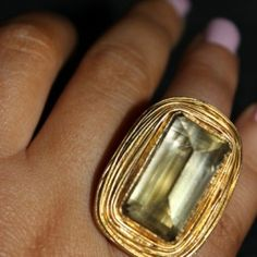 Green Amethyst 24k Vermeil Ring