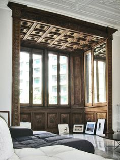 wood panelled bay