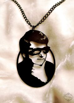 Roy Orbison silhouette portrait necklace in black by FableAndFury