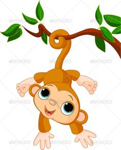 Baby Monkey on a Tree - Animals Characters
