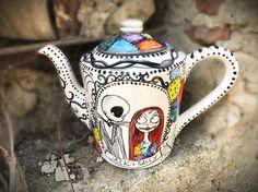 nightmare before Christmas inspired ceramic teapot handpainted