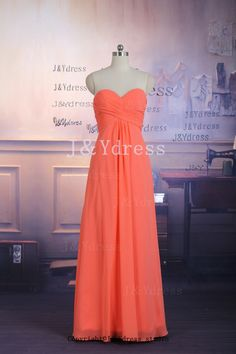 Coral+Bridesmaid+Dress+Aline+Sweetheart+Long+Chiffon+by+JYdress,+$99.00