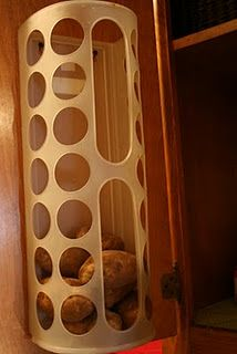 Great idea for storing potatoes! Love this blog. She does some crazy organizing!