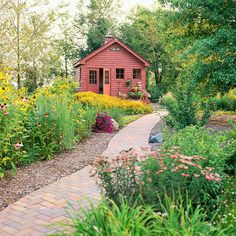 Cater to Critters. Singing birds and fluttering butterflies add sensory sparkle to any size garden. In the garden shown here, carefree natives line a walkway leading to a potting shed. Wild grasses -- including switchgrass and little bluestem -- offer year-round interest. Perennials such as coneflower, New England aster, prairie coneflower, and butterfly weed provide color and nectar.