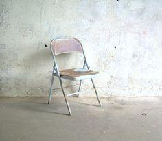 Vintage Metal Folding Chair Blue Rusty by TheArtifactoryStudio, $45.00